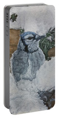 Portable Battery Charger featuring the painting Winters Greeting by Wendy Shoults