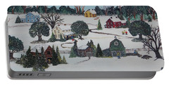Portable Battery Charger featuring the painting Winters Last Snow by Virginia Coyle