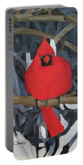 Portable Battery Charger featuring the painting Winters Refuge by Wendy Shoults