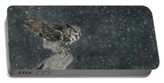 Wintery Great Horned Owl Portable Battery Charger by CR Courson