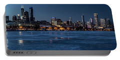 Wintry Chicago Skyline At Dusk  Portable Battery Charger