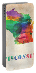 Wisconsin Colorful Watercolor Map Portable Battery Charger