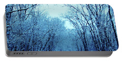 Wisconsin Frosty Road In Winter Ice Portable Battery Charger