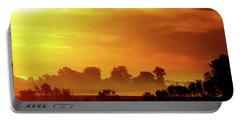 Wisconsin Misty Morning Farm Fields Sunrise Portable Battery Charger