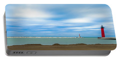 Portable Battery Charger featuring the photograph Wisconsin Winter Lakefront by Steven Santamour