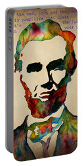 Wise Abraham Lincoln Quote Portable Battery Charger by Georgeta  Blanaru