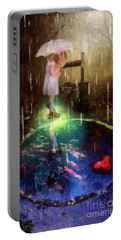 Portable Battery Charger featuring the painting Wishing Well by Mo T