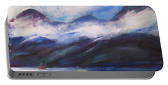 Portable Battery Charger featuring the painting Wispy Clouds by Yulia Kazansky