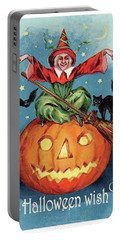 Witch In A Big Pumpkin Portable Battery Charger