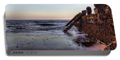 Withernsea Groynes At Sunset Portable Battery Charger