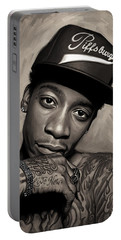 Portable Battery Charger featuring the painting Wiz Khalifa Artwork  by Sheraz A