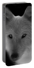 Wolf - Black And White Portable Battery Charger