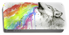 Wolf And Rainbow  Portable Battery Charger