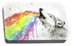 Wolf And Rainbow  Portable Battery Charger by Olga Shvartsur