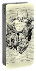 Wolf, Bear, Deer, Owl Wildlife Animals Black And White Portable Battery Charger