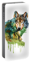 Wolf Face Watercolor Portable Battery Charger by Marian Voicu
