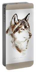 Wolf Head Brush Drawing Portable Battery Charger