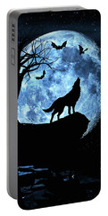 Wolf Howling At Full Moon With Bats Portable Battery Charger by Justin Kelefas