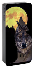Wolf Howling At The Moon Portable Battery Charger