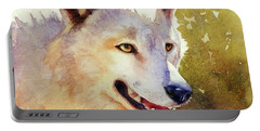 Portable Battery Charger featuring the painting Wolf In Morning Light by Bonnie Rinier