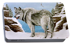 Portable Battery Charger featuring the painting Wolf In Winter by Teresa Wing