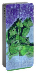 Portable Battery Charger featuring the painting Green Pack Of Wolves by Donald J Ryker III