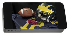 Wolverine Helmet With Roses, Jersey, And Football Portable Battery Charger