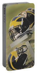 Wolverine Helmets On A Football Bench Portable Battery Charger