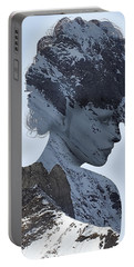 Woman And A Snowy Mountain Portable Battery Charger