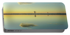 Woman And Cloud Reflected On Beach Lagoon At Sunset Portable Battery Charger