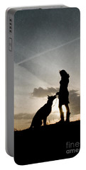 Woman And Dog  Portable Battery Charger