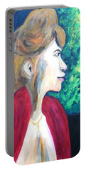 Portable Battery Charger featuring the painting Woman At The Window by Esther Newman-Cohen