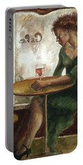 Woman In A Paris Cafe Portable Battery Charger