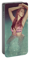 Woman In Bikini In The Water And Retro Look Image Finish Portable Battery Charger