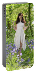 Woman In Bluebell Woodland Portable Battery Charger