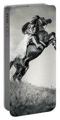Portable Battery Charger featuring the photograph Woman In Dress Riding Chestnut Black Rearing Stallion by Dimitar Hristov