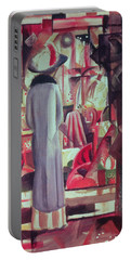 Woman In Front Of A Large Illuminated Window Portable Battery Charger by August Macke