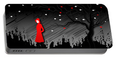 Woman In Red Hat And Trench Coat Walking In Blustery Autumn Rain Portable Battery Charger