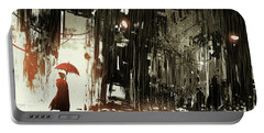 Portable Battery Charger featuring the painting Woman In The Destroyed City by Tithi Luadthong
