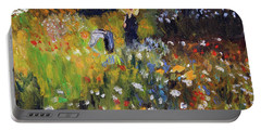 Woman In The Garden After Renoir Portable Battery Charger by Michael Helfen