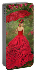 Woman In The Rose Gown Portable Battery Charger