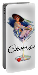 Woman In Wine Glass Portable Battery Charger