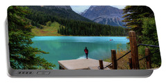 Woman Looking Emerald Lake Yoho National Park British Columbia Canada Portable Battery Charger
