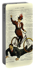 Woman On Bicycle Riding Over Man Portable Battery Charger