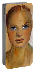 Woman Portrait Sketch Portable Battery Charger by Svetlana Novikova