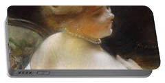 Woman With A Pearl Necklace Portable Battery Charger