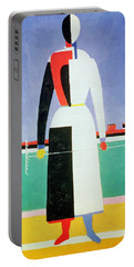 Woman With A Rake Portable Battery Charger by Kazimir Severinovich Malevich