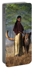 Woman With Mountain Lion Portable Battery Charger by Daniel Eskridge