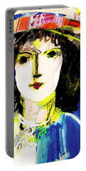 Woman With Party Hat Portable Battery Charger by Amara Dacer