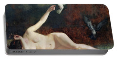 Woman With Pigeons Portable Battery Charger by Ernst Philippe Zacharie